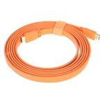 山泽五彩扁平HDMI线 橙色 3米 转接数据线/山泽