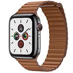 苹果Watch Series 5(GPS+蜂窝网络/不锈钢表壳/皮制回环形表带/44mm) 智能手表/苹果